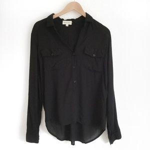 🌼Cloth & Stone Black Long Sleeve Tunic Top Size M